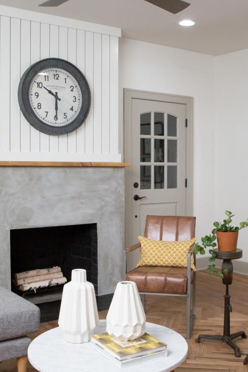 Refinished Concrete Fireplace The Flipper Fixer Upper Hgtv S