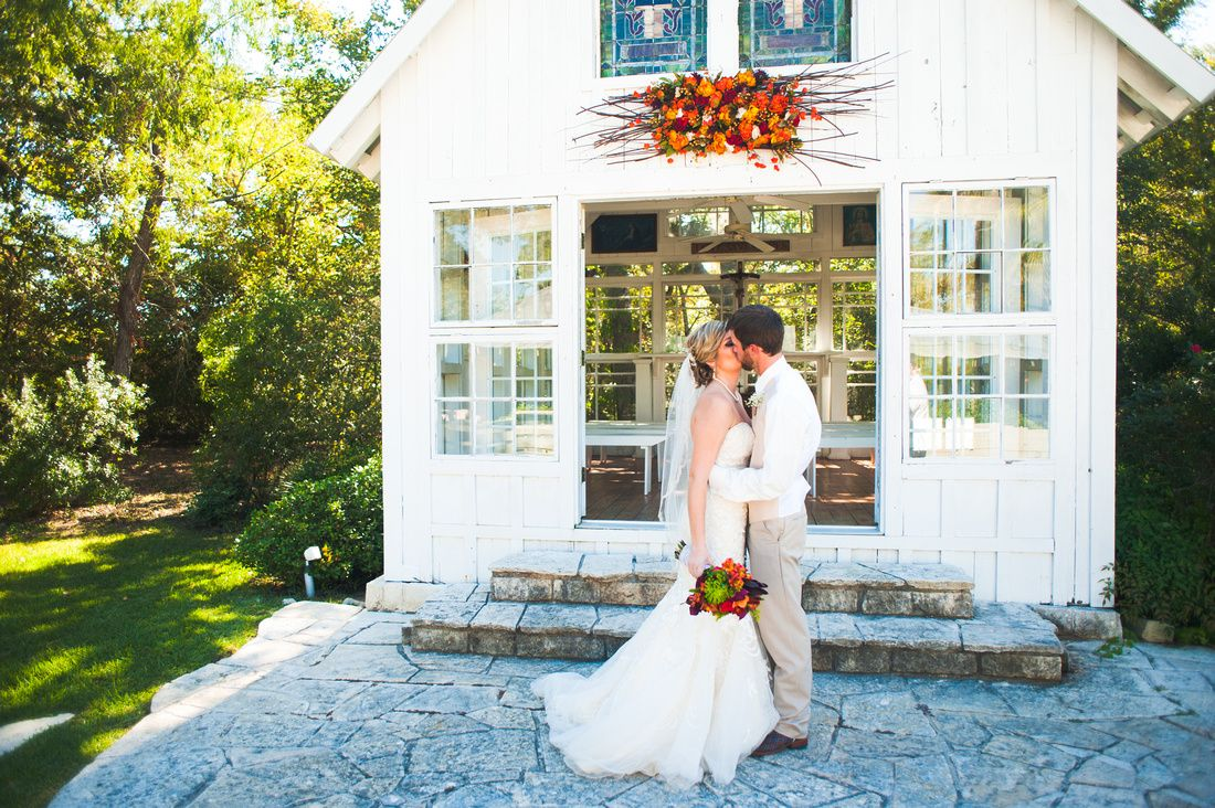 Bride and groom in front of the chapel  Click through to see full wedding gallery. http://carolineannphotography.com College Station Wedding Photographer