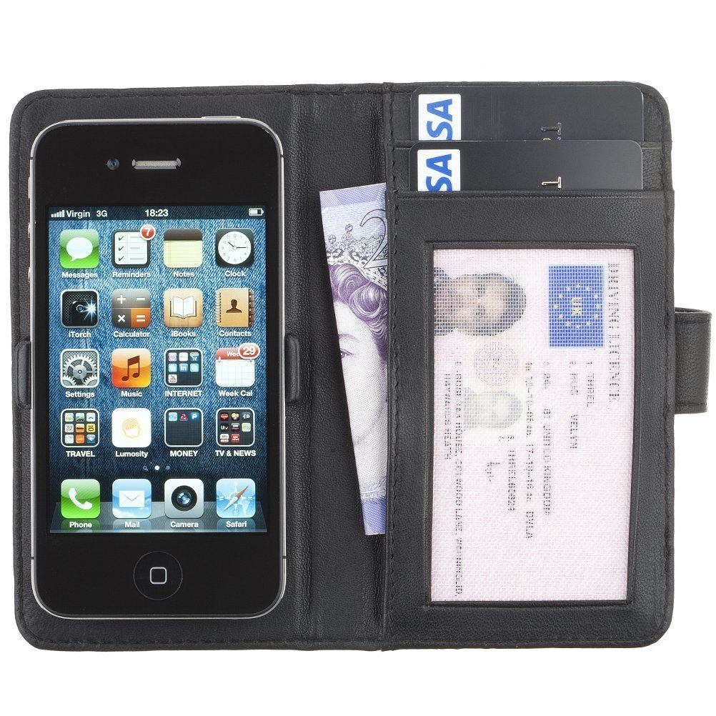 Vermont Luxury Soft Leather Wallet Case and Card Holder for iPhone 4 4S 5 5S 5C in Black - Fonerize - Leather Cases and Phone Wallets