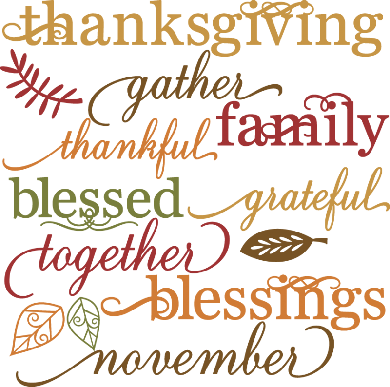 Thanksgiving Words Set SVG cut files for scrapbooking ...