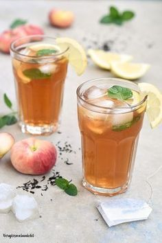 Einfaches Rezept für ein Bergpfirsich Eistee - ohne Zucker #lemonade