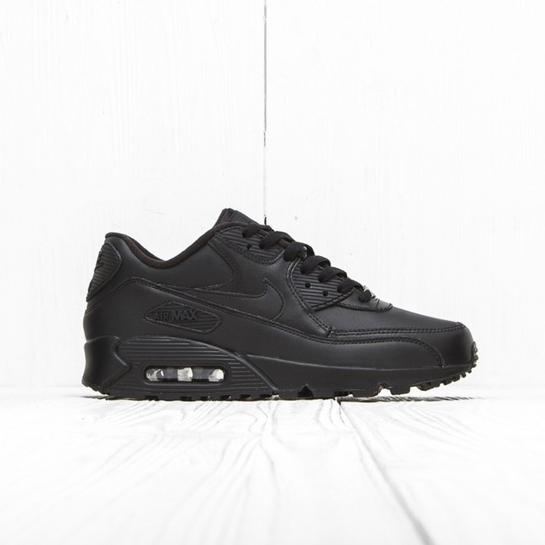 Nike Nike Air Max 90 Leather Triple Black 302519 001 10 Us