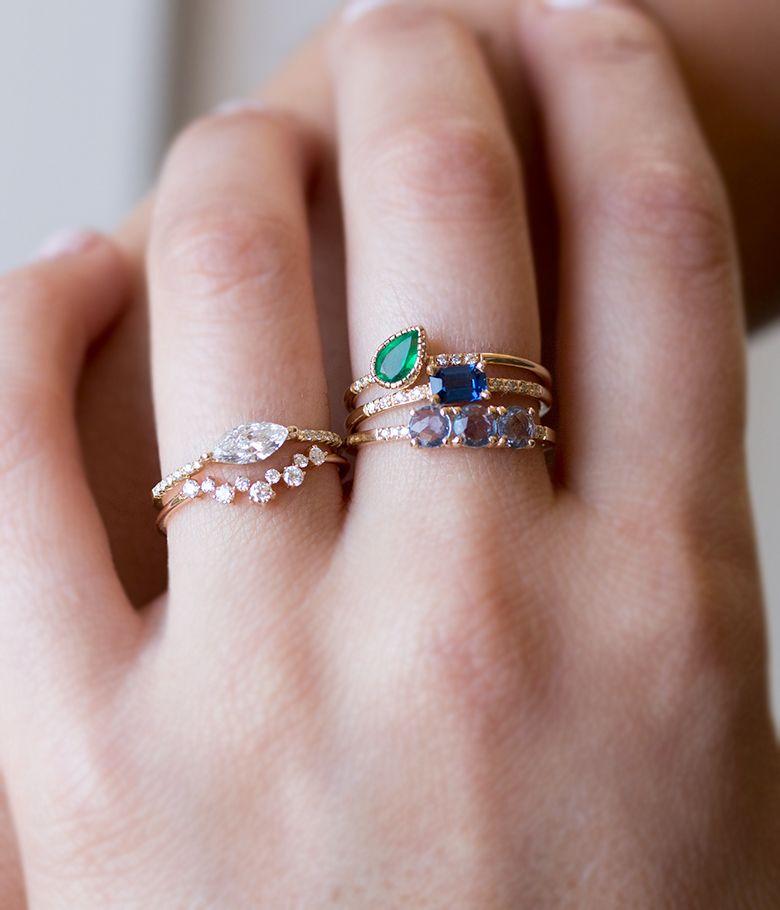 Emerald Tilt Equilibrium Ring