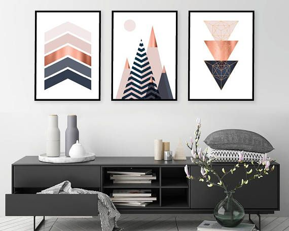 Set Of 3 Printable Downloadable Print Set Scandinavian Prints Mountains Geometric Wall Art Bedroom Decor Poster Copper Pink Navy Downloadable Print Scandinavian Print Pink Home Decor