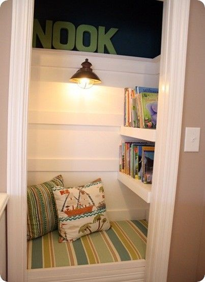 Closet reading nook - I loved the idea of these as a kid. Mine were made in my closet or corners of my bedroom using milk crates and cardboard boxes.