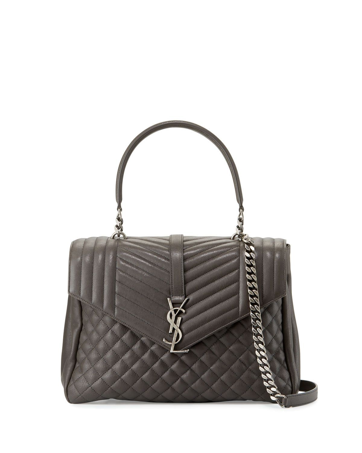 Saint Laurent tri-quilted calfskin leather shoulder bag. Top handle with  chain inset 84e6e31798701