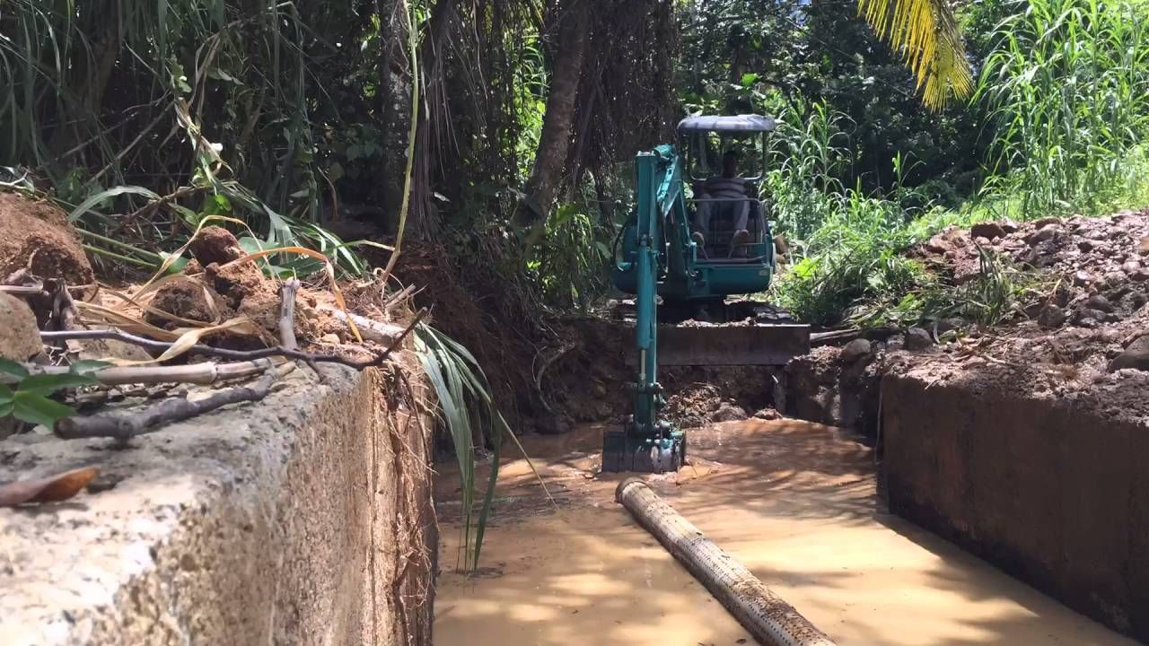 Renovating an old, out of use DAM to get water down to the farm and supply our initial 12 culture tanks. We are starting off rearing Tilapia. The DAM was rendered defunct after hurricane Tomas hit St. Lucia in 2010 but was already not being used before then.