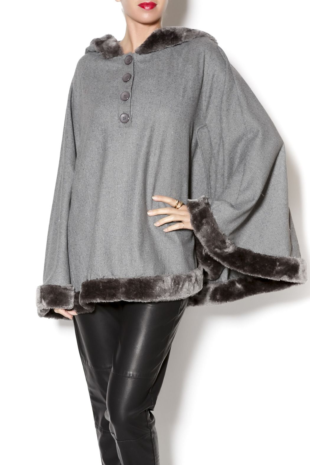 2ccad19caa4f Slate grey faux fur trimmed poncho with button detailing and ultra soft  faux fur lined trimmed