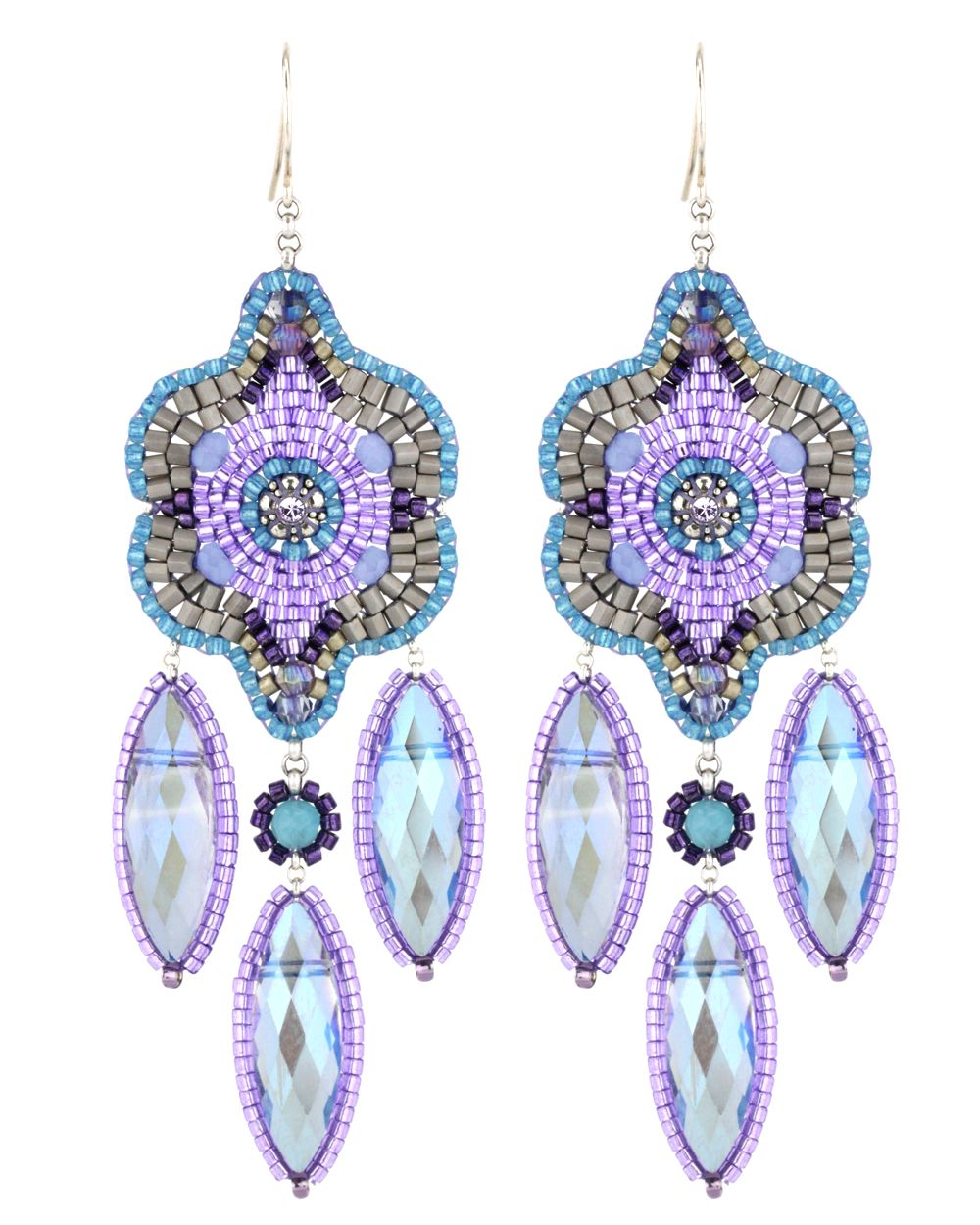 miguel ases jewelry | Miguel Ases Blue and Rainbow Quartz and Swarovski Earrings $288