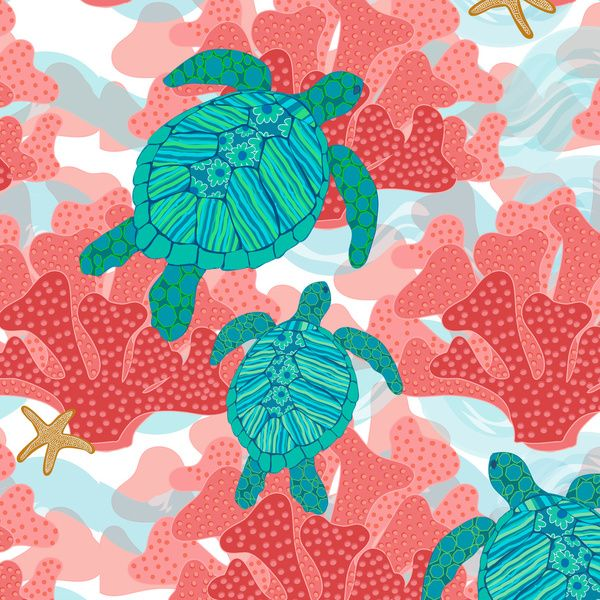 Sea Turtles in The Coral - Ocean Beach Marine by Shelly Penko