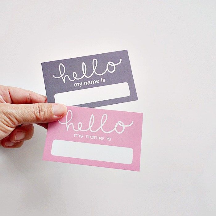 Pink Grey Baby Shower Name Tags Hello Sticker Wedding Labels Events Tag By Paperfabricstudio On Etsy