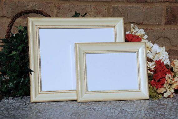 Shabby Chic Photo Frames Set Of 2 Vintage Antique Ivory Hand