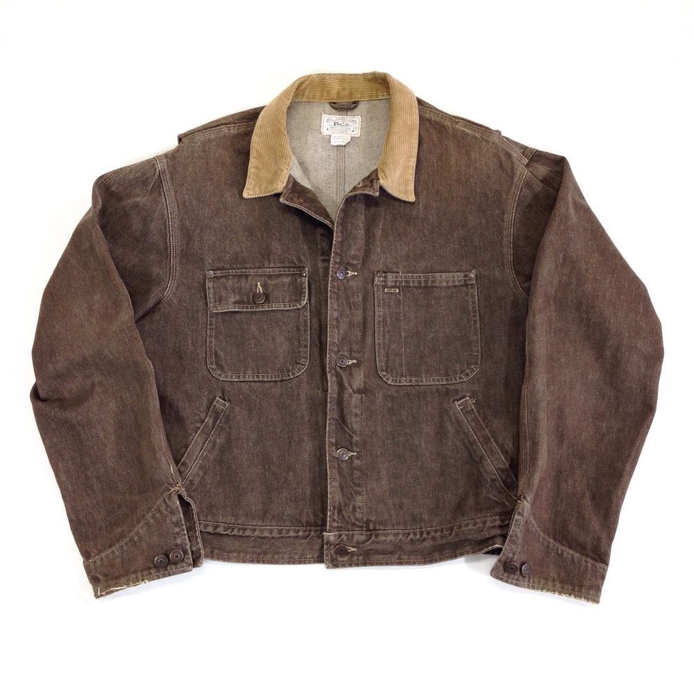 Rare Vintage Usa Ralph Lauren Polo Denim Brown Jean Jacket Tan Corduroy Collar Brown Jean Jacket Jackets Jean Jacket [ jpg ]