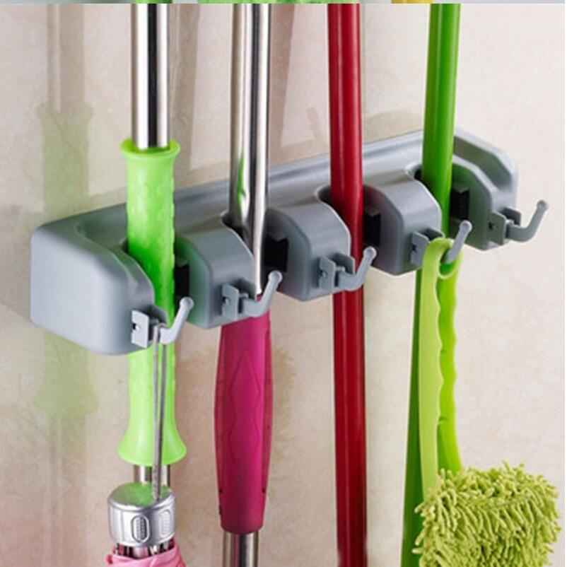 Wall Mount Mop Organizer Holder Brush Broom Hanger Storage Rack Kitchen Tools US