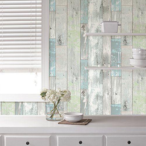 NuWallpaper Beachwood Blue White Peel Stick Wallpaper Pastel Vintage ...