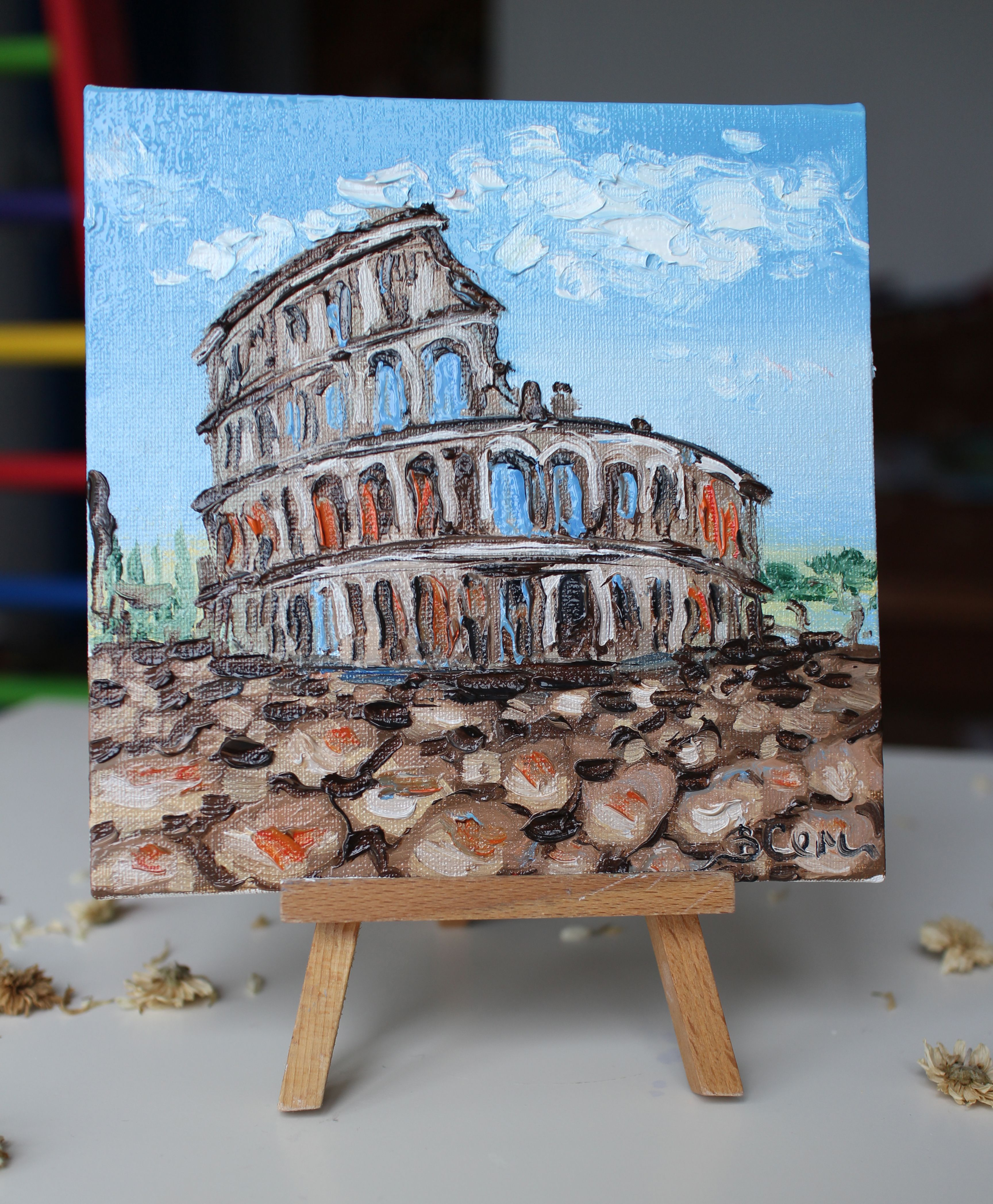 Rome Painting Oil Framed Oil Painting Colosseum Italy Rome Etsy Rome Painting Small Canvas Art Italy Wall Art
