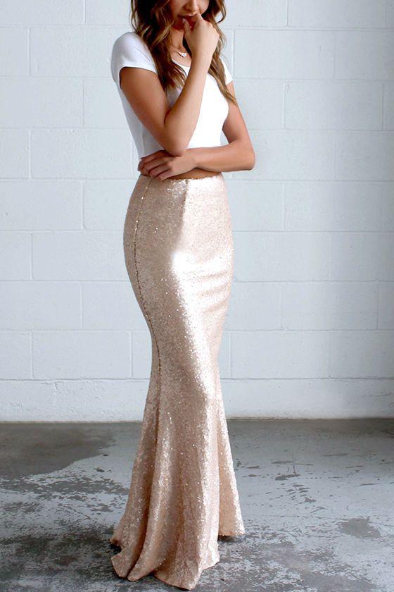 f2cf1cb242 Kickin' Up Stardust Blush Sequin Maxi Skirt | Fashion | Tops y ...