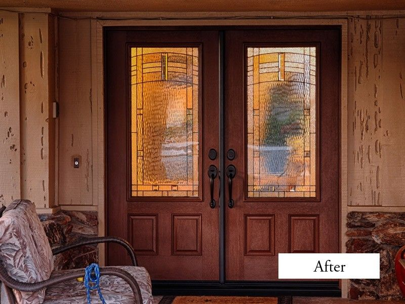 Classic 6 foot double entry doors with 3 4 glass therma for Therma tru maple park