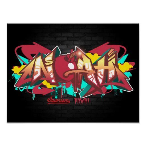 The Name Noah In Graffiti Poster Zazzlecom In 2019 Graffiti