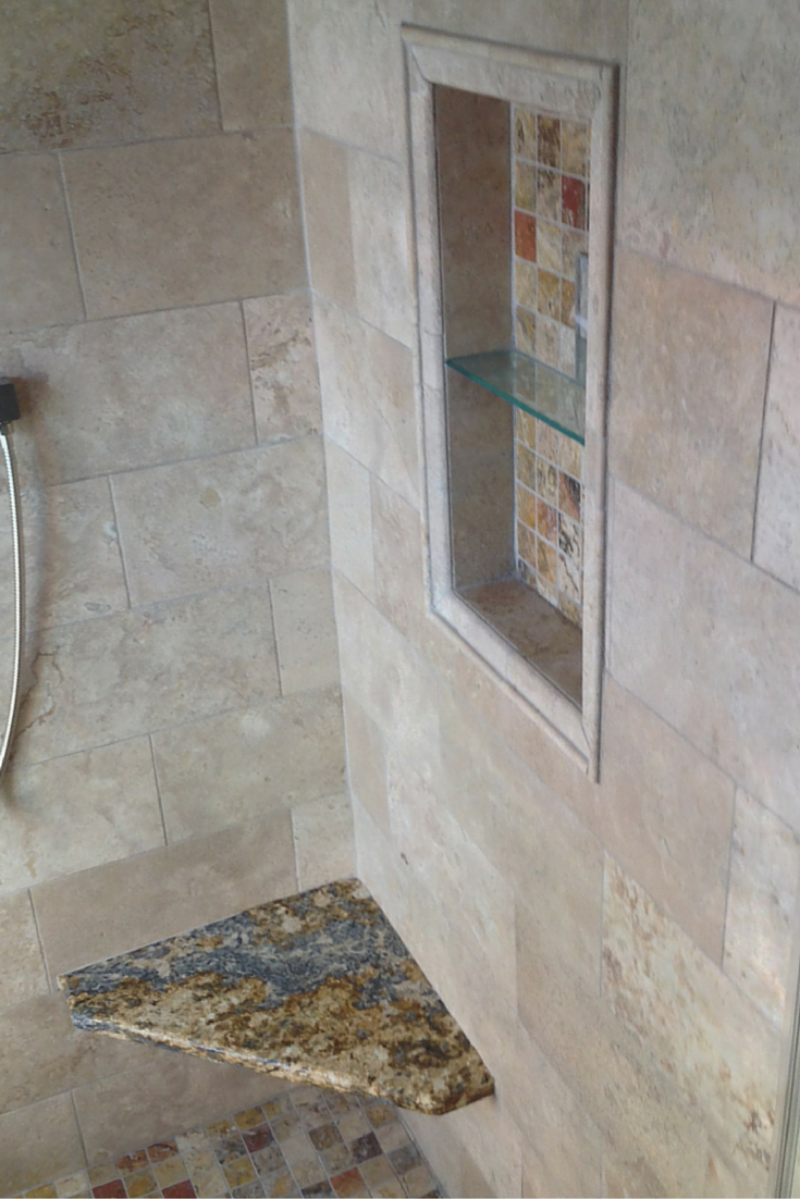 A Luxury Bathroom without Barriers for Active Adults | Corner bench ...