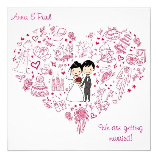 Cute Wedding Invitation Wording Samples: Cute Pink Wedding Invitation Drawing Heart #wedding
