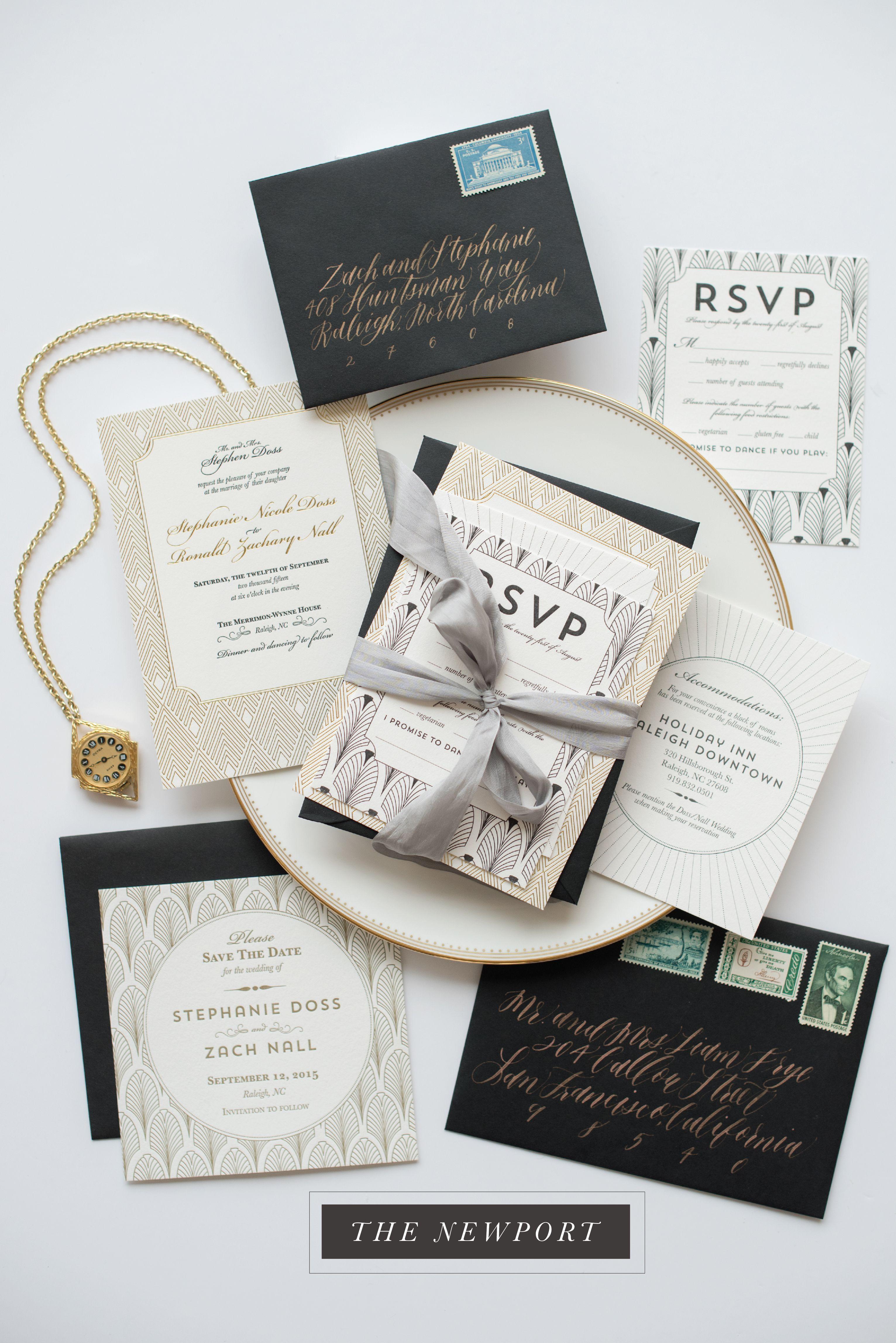 gatsby art deco patterned invitation gold foil letterpress black ...