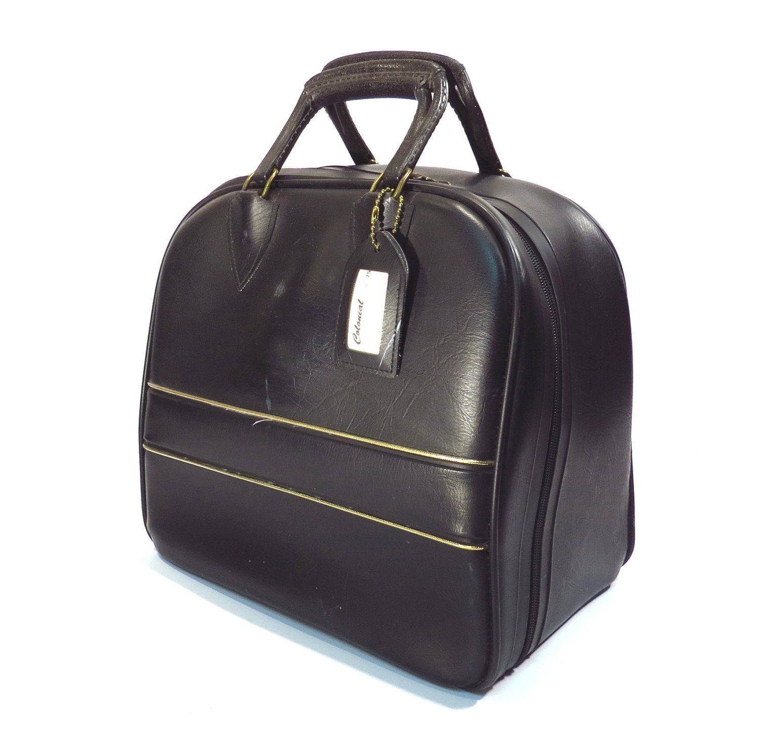 Black Colonial Bowling Bag With Gold Lame Pin Stripe Vintage 1980s Rockabilly Bowling Ball Bag Bowling Ball Bags Bowling Bags Vintage Purses