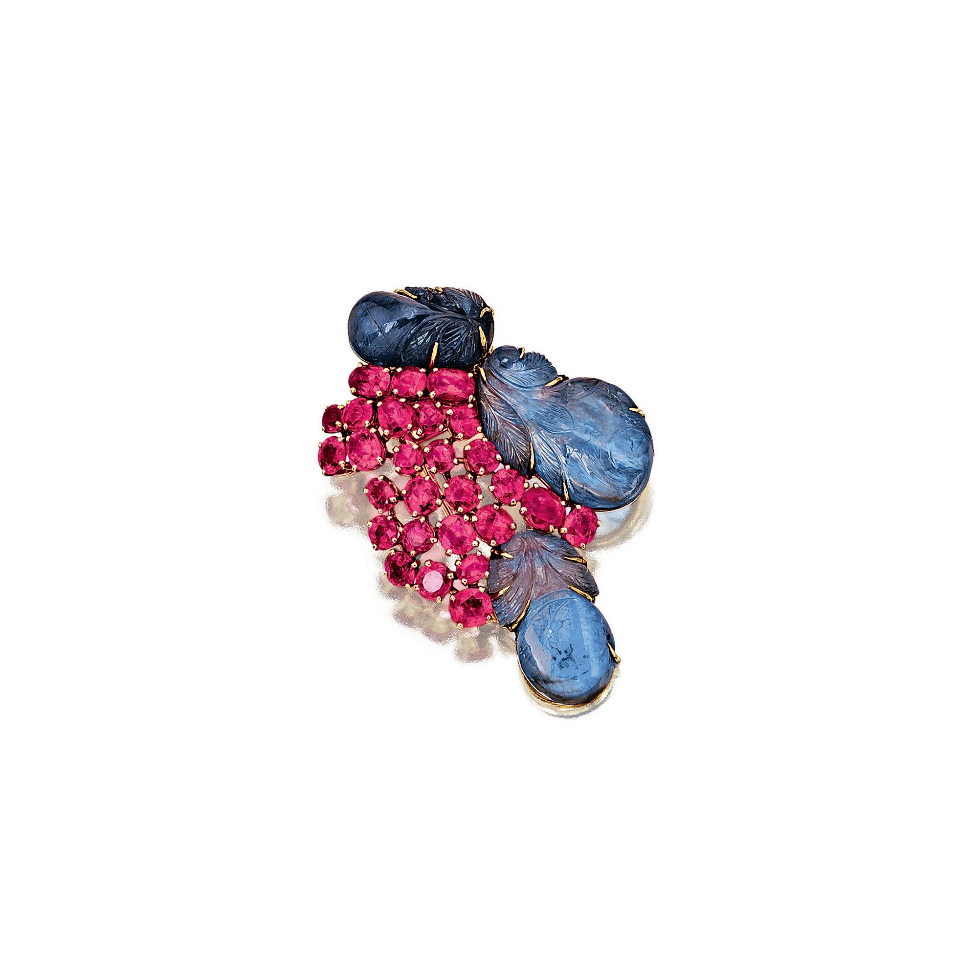Sapphire and ruby brooch, Suzanne Belperron, 1950s| Sotheby's