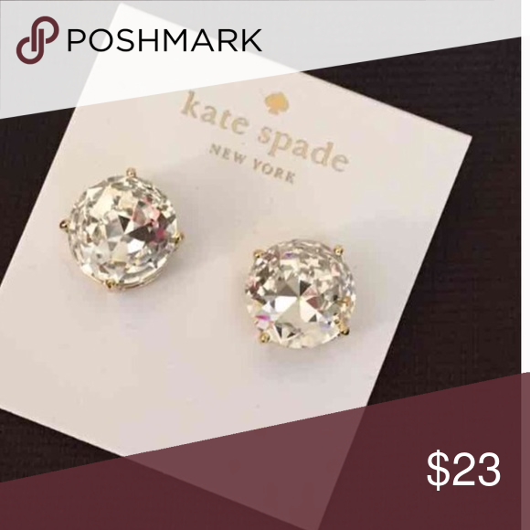 Kate Spade Earrings New Large Kate Spade Earrings   Color: clear /gold plated. Includes dust bag New with tags.  PRICE IS FIRM   No trades. kate spade Jewelry Earrings