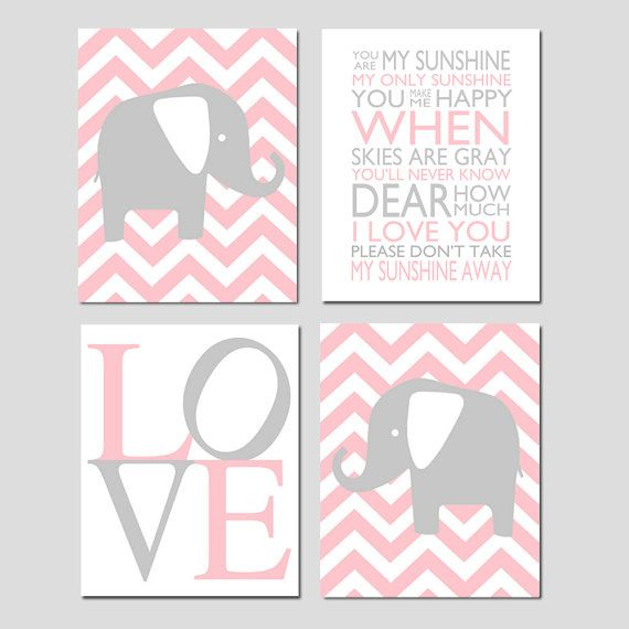 Baby Girl Nursery Art - You Are My Sunshine Chevron Elephants - Kids Wall Art Baby Girls Room Baby Nursery Decor - Four 11x14 Prints