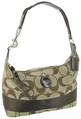 8faa20ab84dd $215.00-$268.00 Handbags COACH F17434 Signature Stripe Hobo Womens Purse  Handbag - This Coach signature hobo features classic khaki jacquard  signature water ...
