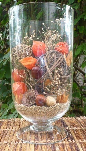 Grote vaas in herfst thema deko herbst pinterest - Glasglocke dekorieren ...