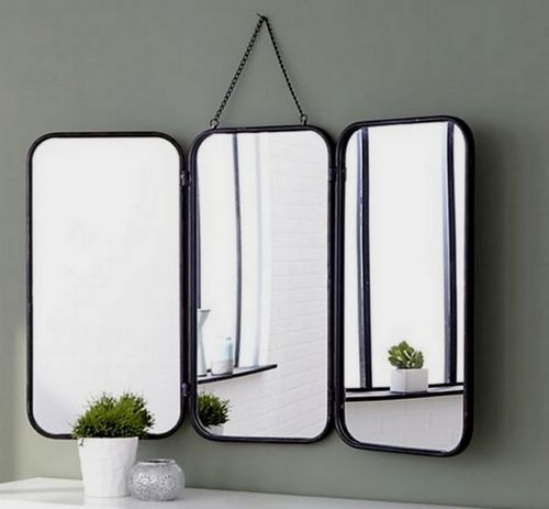 grand miroir triptyque de barbier accrocher vintage ann es 60 pinterest miroir triptyque. Black Bedroom Furniture Sets. Home Design Ideas