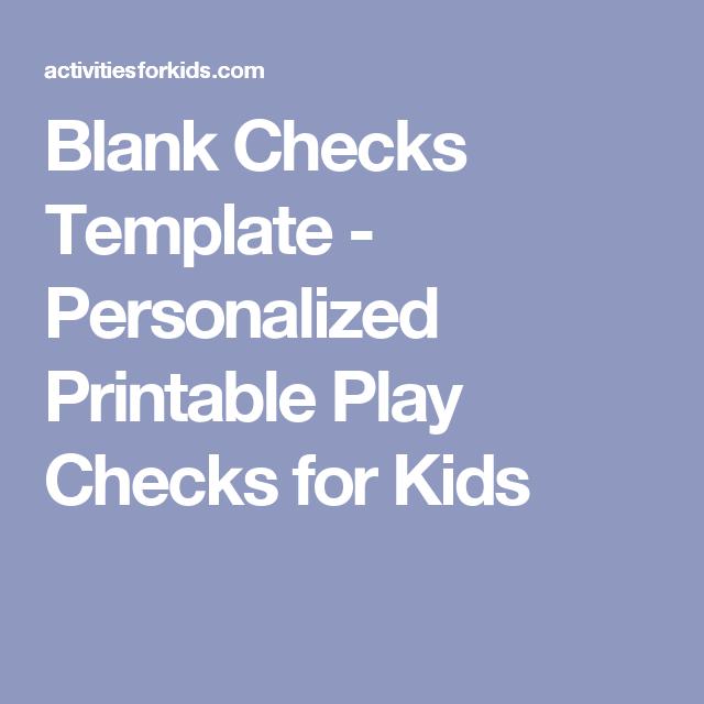 Blank Checks Template  Printable Play Checks For Kids  Blank
