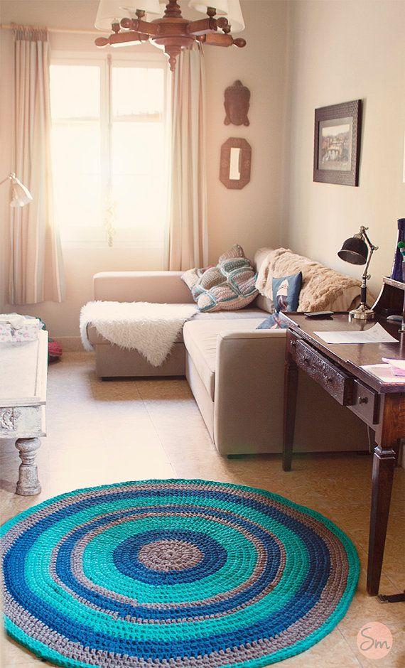 Simple round trapillo rug alfombras de trapo trapillo y - Alfombras redondas ...