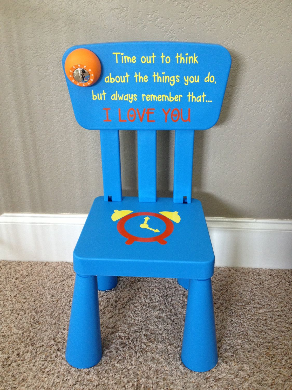 Personalized Time out chair with real working timer for your little one. Each chair will have this special quote  Time out to think out about the things you ... : time out chairs with timer - Cheerinfomania.Com