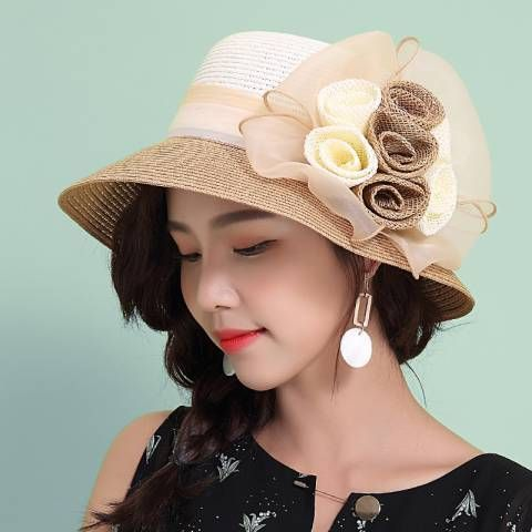 Summer sun hat with flower UV foldable beach straw hats for women