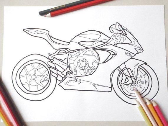 Moto Da Colorare Motocicletta F3 Mv Agusta Color Card Coloring Pages Motorbikes