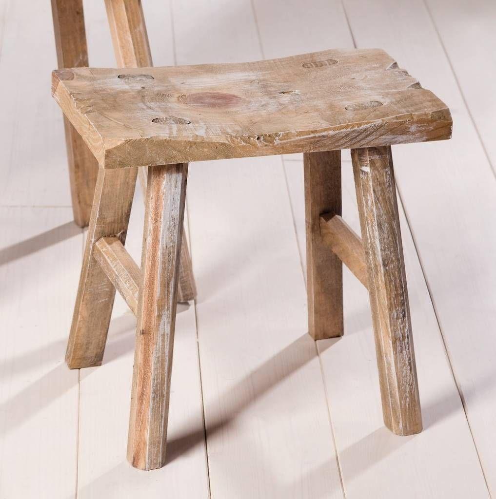 Rustikales Holzhocker Set Aus Hellbraun Gekalktem Kiefernholz Trend Holzhocker Hocker Holz Hocker