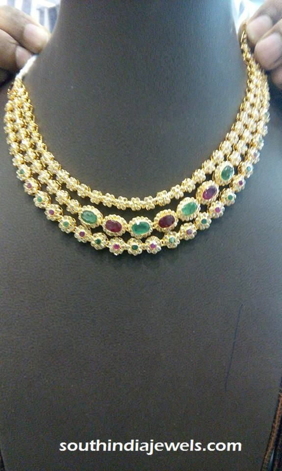 CZ Stone gold three layer step necklace design | Necklace ...