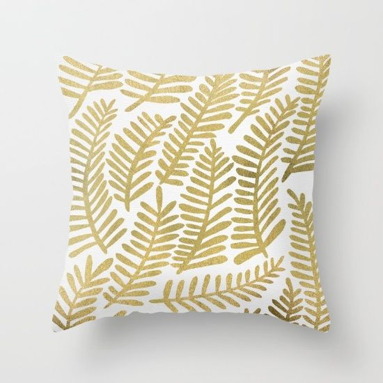 Gold Fronds Throw Pillow By Cat Coquillette Society6 베개