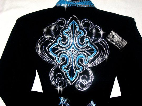 28a79c9a bling western showmanship shirts | Just Fly Designs > ELEGANT CROSSES!  Turquoise & Clear Crystals!