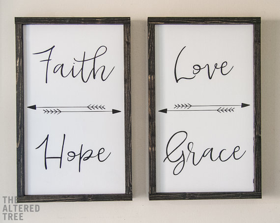This Beautiful Faith Hope Love Grace Dual Sign Set Would Look Great In Your Home And Serve As A Decorative Affirmation Diy Wood Signs Wood Signs Word Art Sign