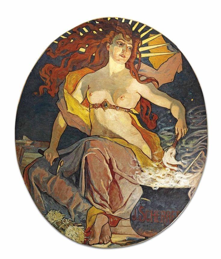 JEAN-JACQUES SCHERRER (1855-1916) 'LA DÉESSE DU FEU' PANEL, CIRCA 1900 oil on canvas 105.1/2 in. (268 cm.) high; 87.1/4 in. (221.5 cm.) wide signed J. Scherrer