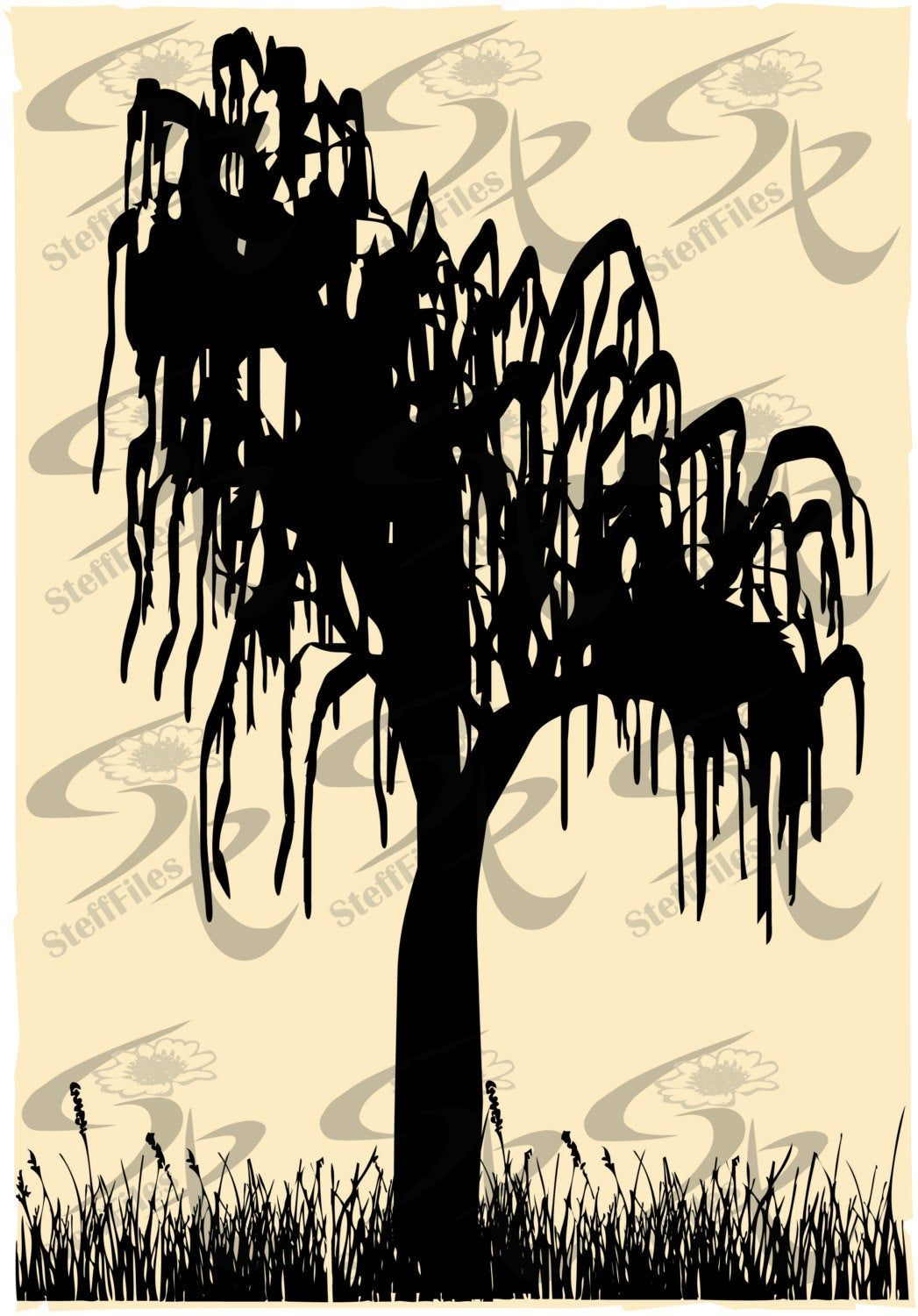 Vector Weeping Willow Treeart Printsvgdxfai Png Eps Etsy In 2021 Tree Illustration Tree Silhouette Weeping Willow