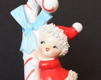 Vintage Spaghetti  Christmas Baby Girl Pixie Japan 1950s Figurine Collectible Decoration