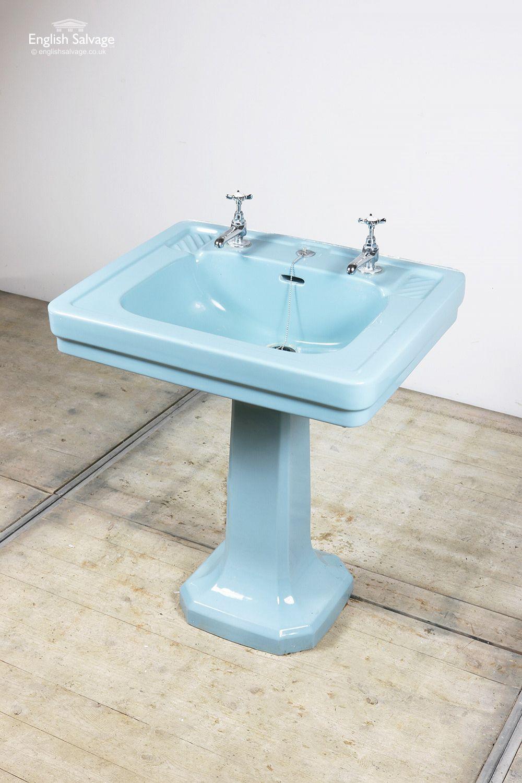 reclaimed blue pedestal basin