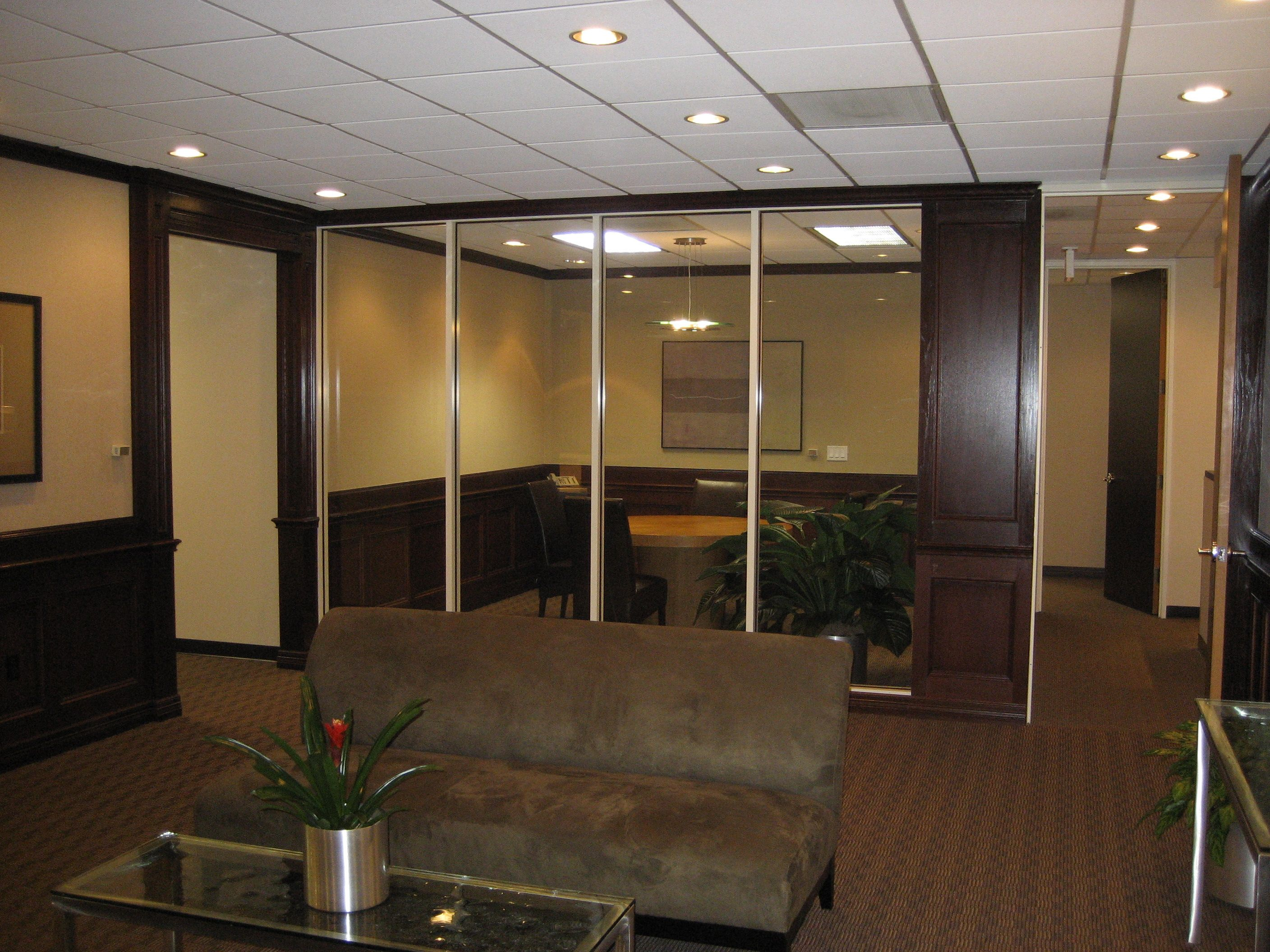 glass window wall boardroom and reception area Corporate Office
