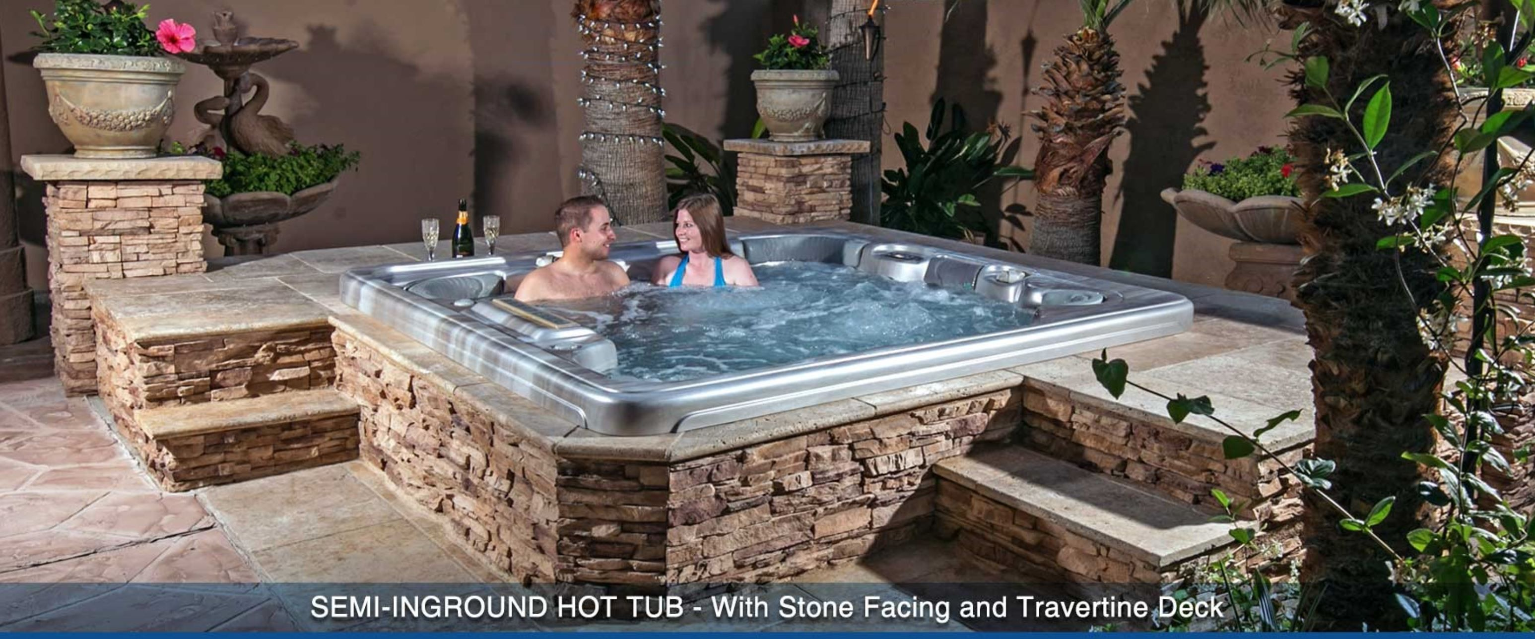 Semi Inground Hot Tubs 30 Minutes Huge Sale Visit Our Showroom Free Cover Steps Chemicals With Pur Inground Hot Tub Hot Tub Outdoor Hot Tub Landscaping