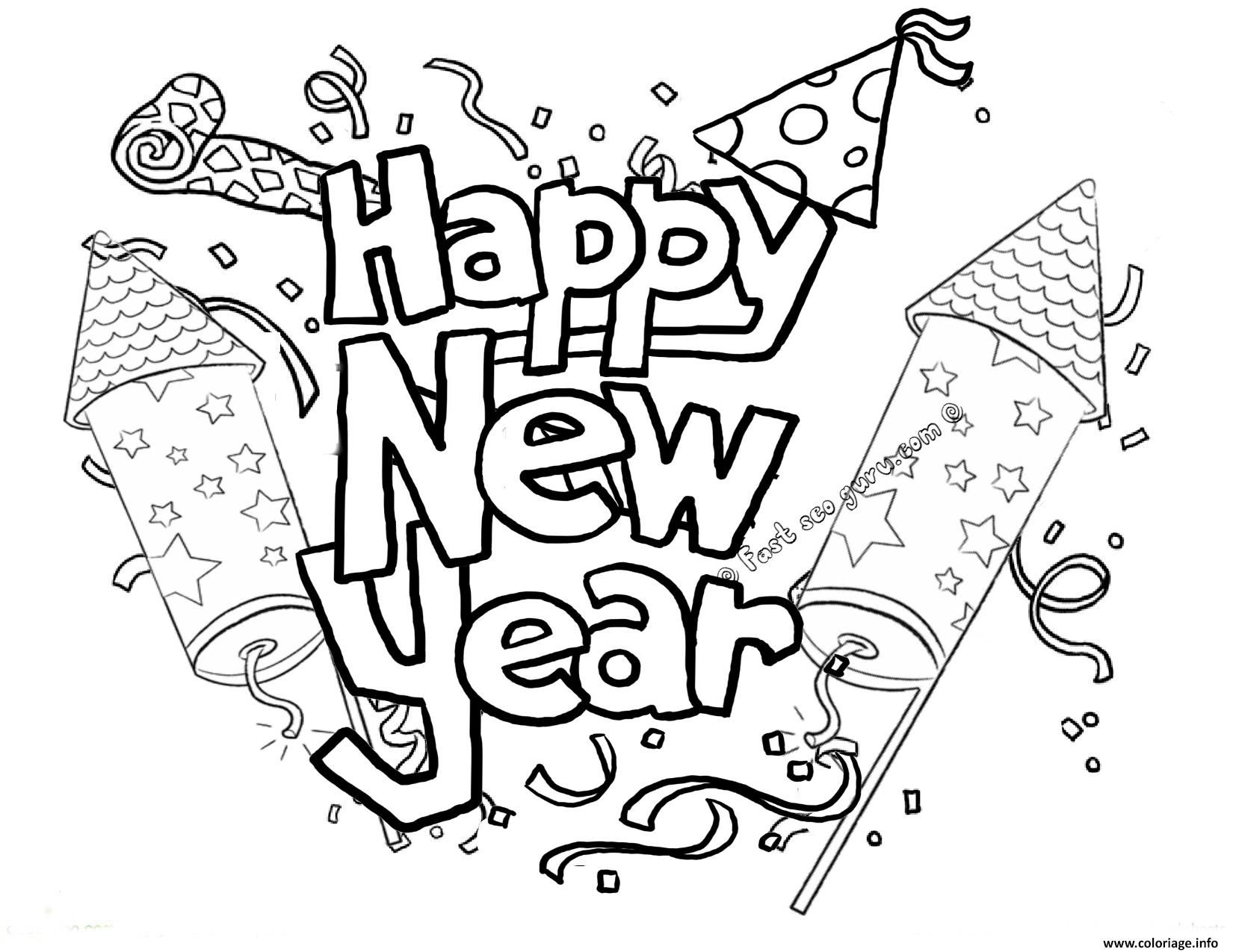 Coloriage Happy New Year Printable 2 Dessin Geometri